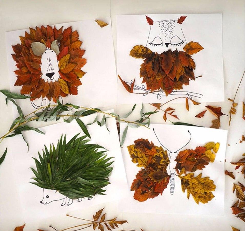 Развлекаем детей – «одеваем» зверушек в осенние листочки!